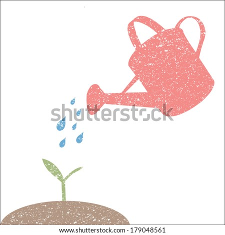 Illustration of watering can and plant isolated on a white background. - stock vector