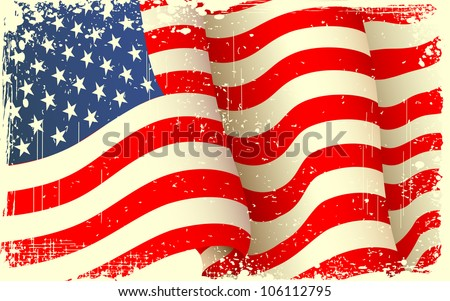illustration of waving American Flag with grungy border - stock vector