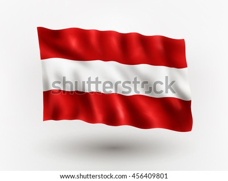 Illustration of waving flag of Austria, isolated flag icon, EPS 10 contains transparency.