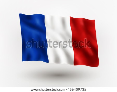 Illustration of waving flag of France, isolated flag icon, EPS 10 contains transparency. - stock vector