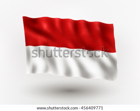 Illustration of waving flag of Indonesia, isolated flag icon, EPS 10 contains transparency. - stock vector