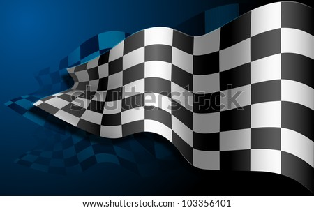 illustration of waving formula one race flag - stock vector