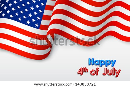 illustration of wavy American Flag for Independence Day - stock vector