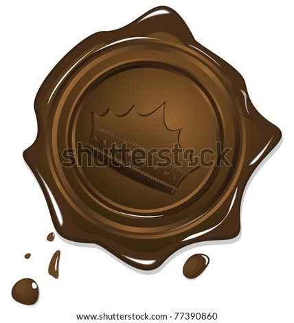 Illustration of wax grunge golden seal with image crown isolated on white background - vector - stock vector
