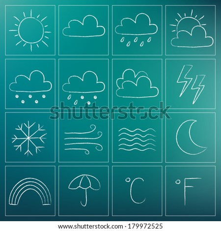 Illustration of weather icons - white chalky doodles - stock vector