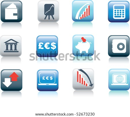 illustration of web buttons for finance and money - stock vector
