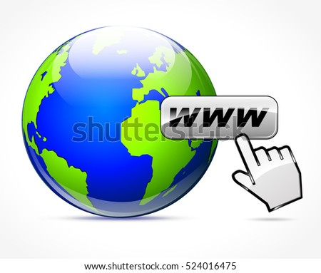 Illustration of web concept with earth and hand