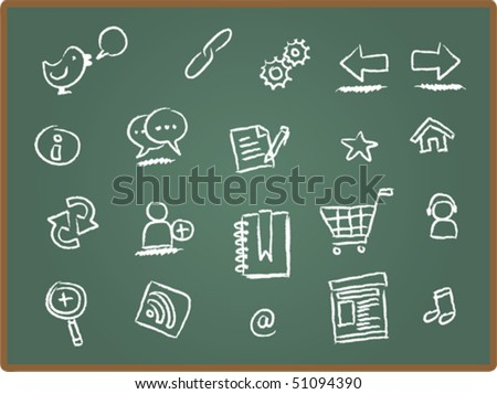 Illustration of web icon on chalk board 1 - stock vector