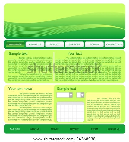 Illustration of  web site green template. Vector - stock vector