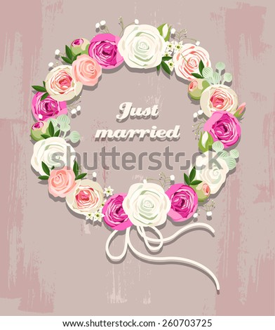 Illustration of wedding wreath made of roses - stock vector