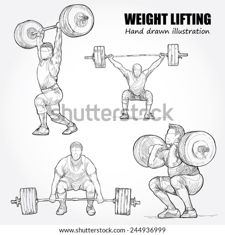 Illustration of Weight Lifting. Hand drawn. - stock vector