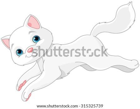 Illustration of white kitten - stock vector