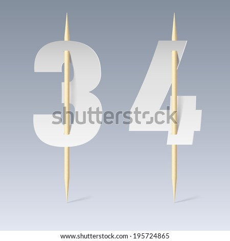 Illustration of white paper cut font on toothpicks on grey background. 3 and 4 numerals - stock vector