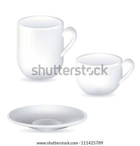 illustration of white porcelain cups and dish isolated on white background, vector illustration - stock vector