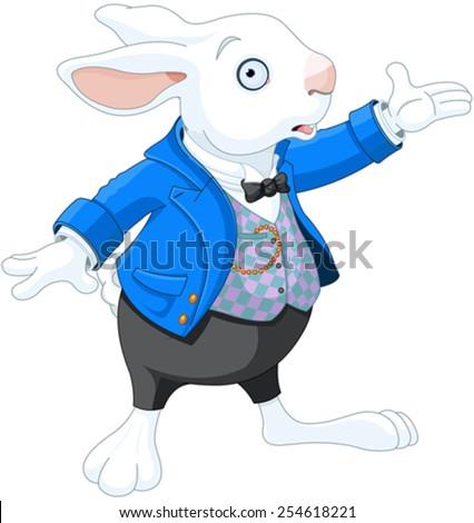 Illustration of White Rabbit  - stock vector