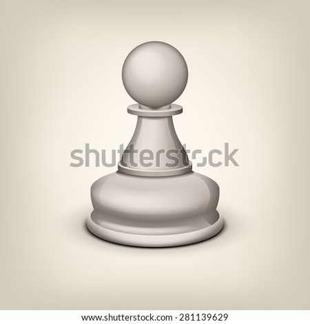 illustration of white single pawn on grey background - stock vector
