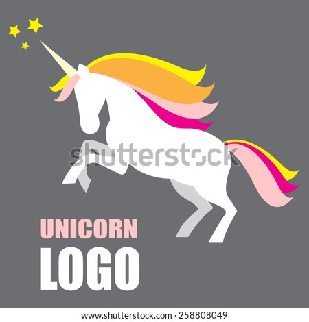 Illustration of white unicorn with yellow, pink, orange mane on grey background and stars. - stock vector