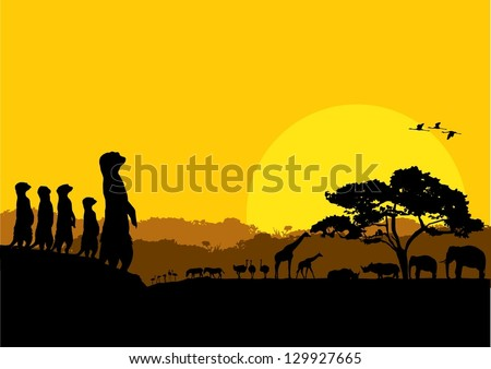 Illustration of wildlife animals silhouette at sunset, vector - stock vector
