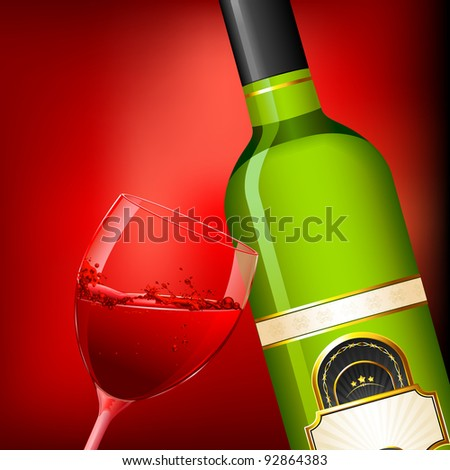 illustration of wine glass and bottle on abstract background - stock vector