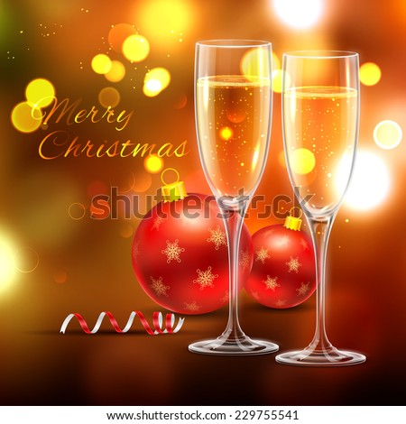 illustration of wine glass with Christmas ball