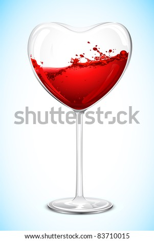 illustration of wine in heart shape wine glass - stock vector