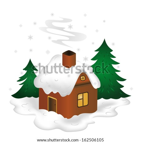 Illustration of winter scenery with snow-covered house  - stock vector