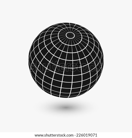 Illustration of wire frame planet sphere, isolated on a white background. Vector illustration, eps 10. - stock vector