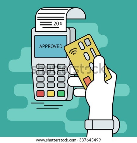 Illustration of wireless mobile payment by credit card. Human line contour hand holds a credit card and taps it to the payment terminal - stock vector