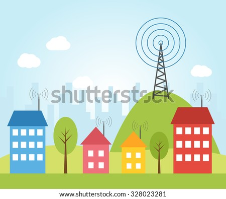 Illustration of wireless signal of internet into houses in city. broadcast tower concept with wifi. network connection technology to house. computer network security and connectivity with wi-fi.  - stock vector