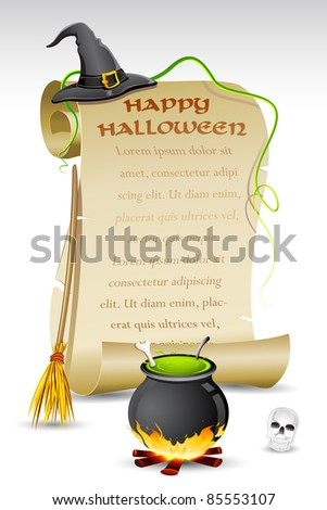 illustration of witch hat and boling pot with halloween card - stock vector