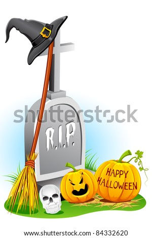 illustration of witch hat with pumpkin and grave stone for halloween - stock vector