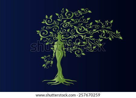 Illustration of woman in woven wood with beautiful branched crown, symbolizing the goddess of fertility and nature. Green crown on a blue background. - stock vector