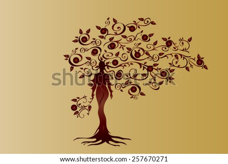 Illustration of woman in woven wood with beautiful branched crown, symbolizing the goddess of fertility and nature. Bordeaux crown of gold background. - stock vector