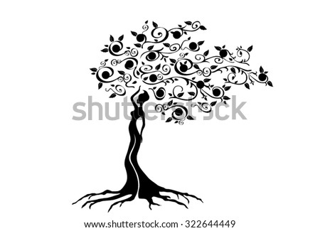 Illustration of woman in woven wood with beautiful branched crown, symbolizing the goddess of fertility and nature. - stock vector