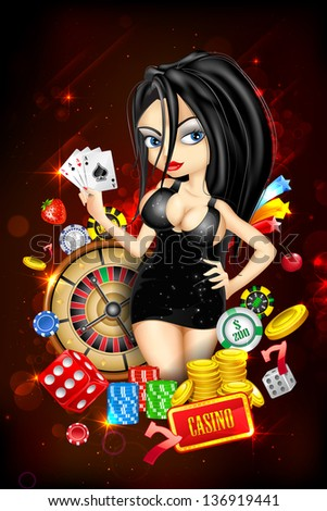 illustration of woman with casino playing card - stock vector