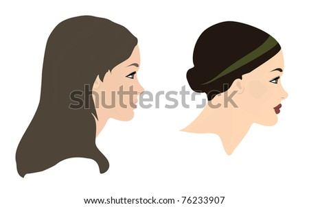 Illustration of Women Face Profiles in a different style - stock vector