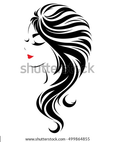illustration women long hair style icon stock vector 620673431