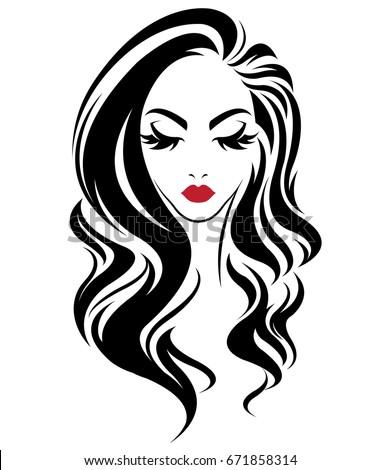 Illustration Women Long Hair Style Icon Stock Vector