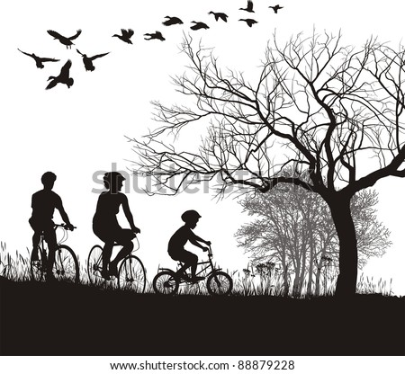 illustration of women, men and boys on bicycles in the countryside - stock vector