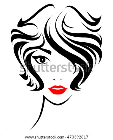 vector hair style stock illustration hair style icon stock vekt 246 r 252 6515 | stock vector illustration of women short hair style icon logo women face on white background vector 470392817