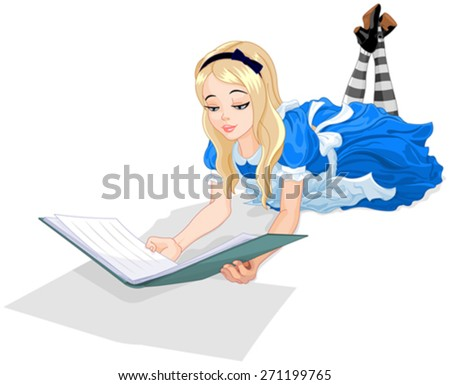 Illustration of Wonderland Alice reading a book  - stock vector