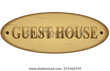 illustration of wood guest house text sign - stock vector