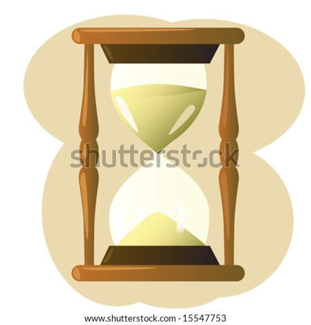 Illustration of wooden antique style sand hourglass