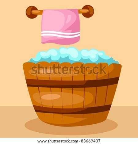 illustration of  wooden bathtub with pink tower on white - stock vector