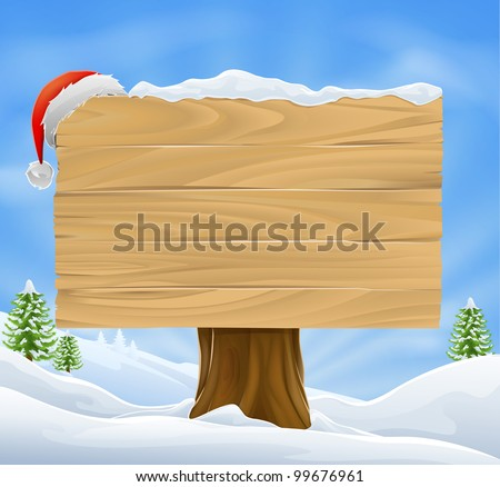 Illustration of wooden Christmas sign with snow and Santa hat hanging from it against a winter landscape. - stock vector
