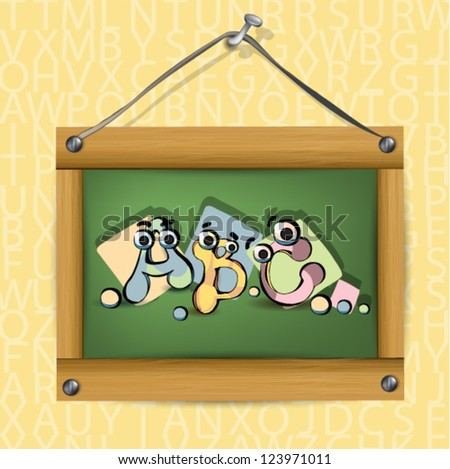 Illustration of wooden school board with cartoon letters abc - stock vector