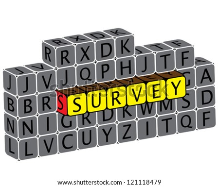 Illustration of word survey using alphabet cubes. The graphic can represent various online questionnaires, feedback requests, etc - stock vector