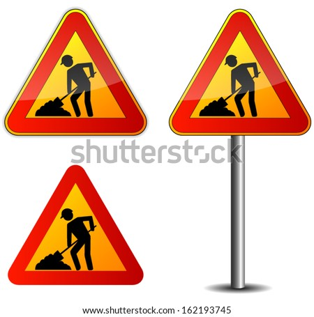 illustration of work sign on white background - stock vector