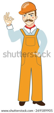 illustration of worker, builder in orange helmet and coveralls full length - stock vector