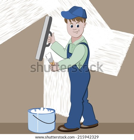 Illustration of worker or mason with spatula and plaster or cement doing renovation  - stock vector